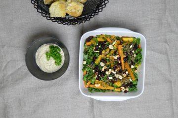 varm salat med græskar