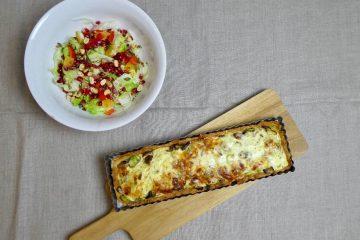 porre-svampetærte med gorgonzola
