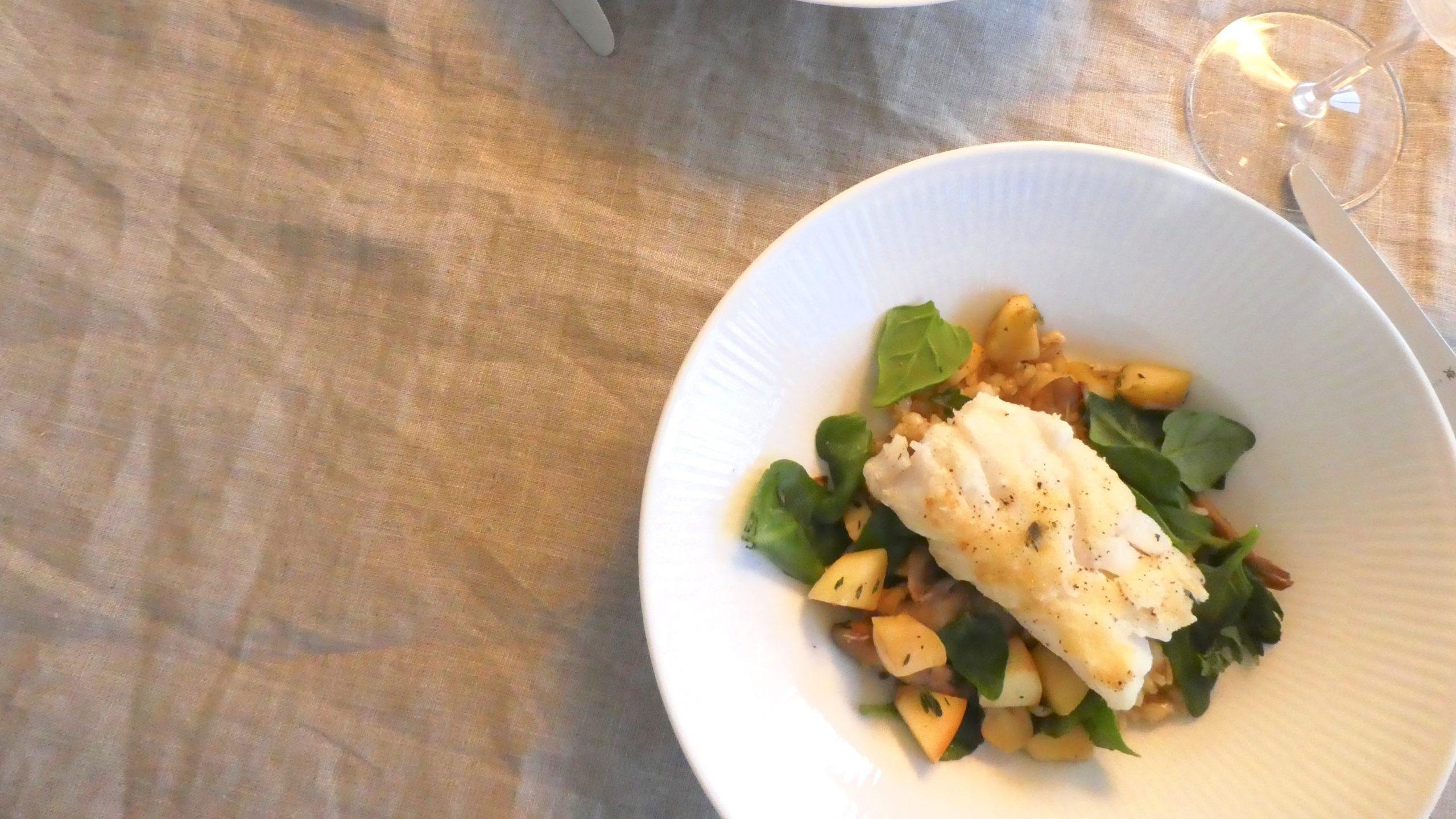 torsk med bygotto og grønt