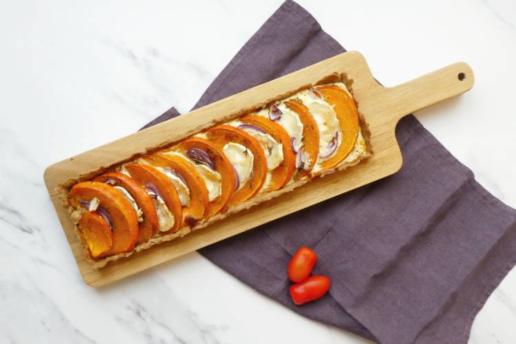 græskartærte med gedeost
