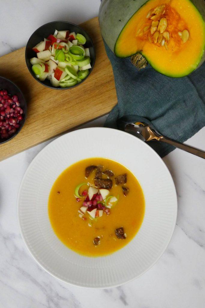 vegansk græskarsuppe med blid smag